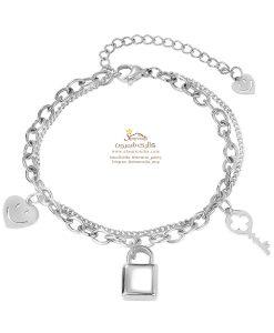 دستبند زنانه قفل و کلید و قلب سیلور