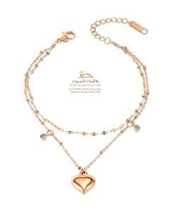 دستبند زنانه قلب رزگلد