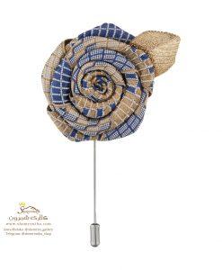 سنجاق سینه و گل کت مردانه آبی روشن و برگ متال BRC166B0