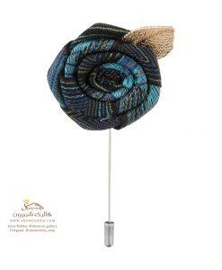 سنجاق سینه و گل کت مردانه رز آبی و برگ متال BRC168B0