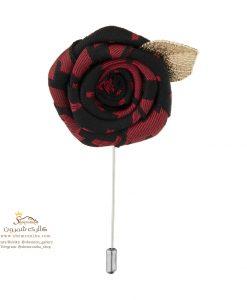سنجاق سینه و گل کت مردانه رز قرمز و برگ متال BRC167R0