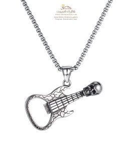 گردنبند مردانه گیتار سیلور