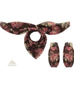 ست روسری و ساق دست گل قرمز SCA157R0