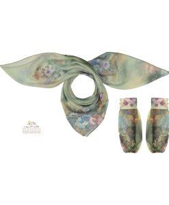 ست روسری و ساق دست گل گلی سبز SCA153V0
